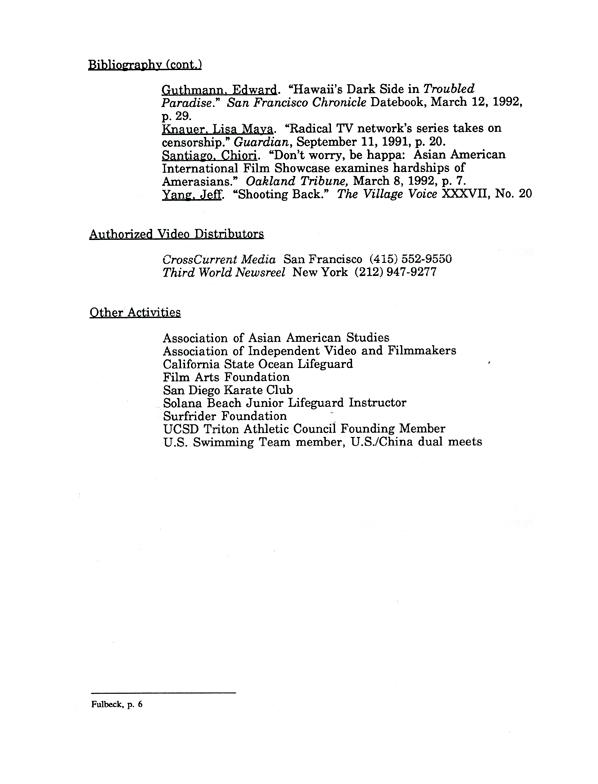 Kip Fulbeck's Resume, pg 6